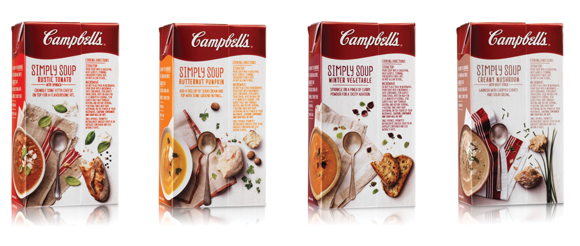 Energi Packaging Design Campbells Simply Soup Butternut Pumpkin Creamy Mushroom Rustic Tomato Winter Vegetable Tetra Pack Product Photography Back Box