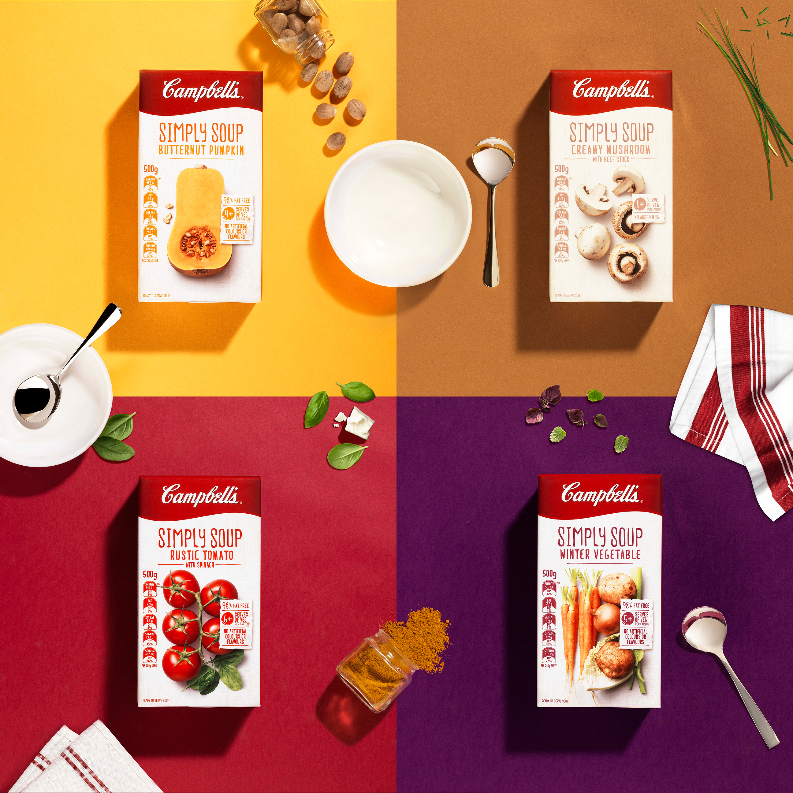 Energi Packaging Design Campbells Simply Soup Butternut Pumpkin Creamy Mushroom Rustic Tomato Winter Vegetable Tetra Pack Product Photography