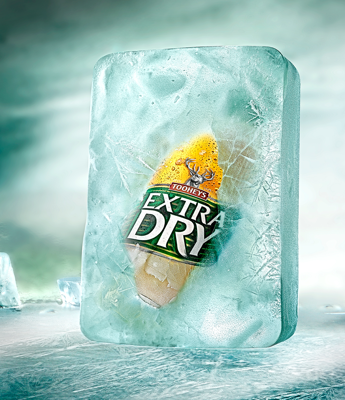 Energi Packaging Design Agency Specialists Product Lifestyle Photography Tooheys Extra Dry Beer Bottle Ice Frozen Refreshing Crisp